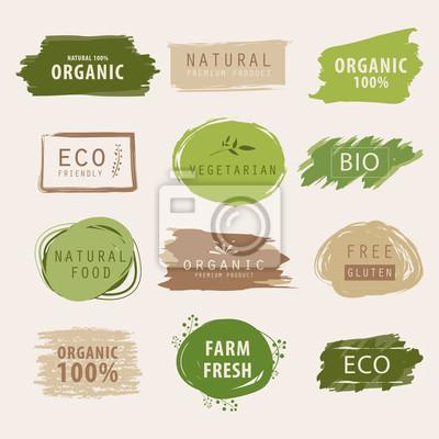 Posters conception de bannière ou d'étiquette verte naturelle et organique. élément de produit frais de ferme.