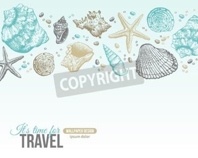 Posters Conception de carte postale de coquillages de mer d'été. Vecteur de fond avec des coquillages, étoile de mer et de sable. Style de gravure à la main. Place pour votre texte.