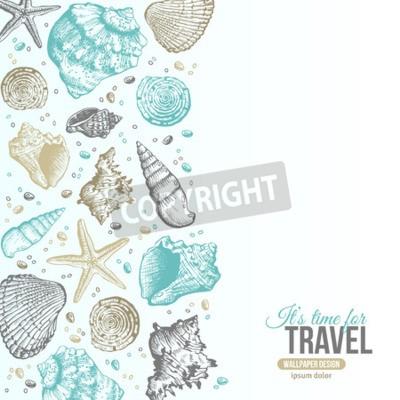 Posters Conception de carte postale de coquillages de mer d'été. Vecteur de fond avec des coquillages, étoile de mer et de sable. Style tiré à la main de gravure. Place pour votre texte.