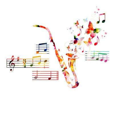 Posters Conception de saxophone coloré avec des papillons