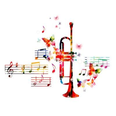 Posters Conception de trompette coloré avec des papillons