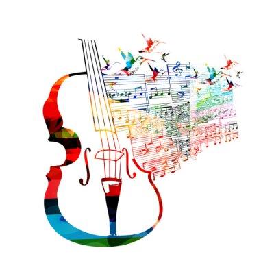 Posters Conception de violoncelle coloré avec colibris