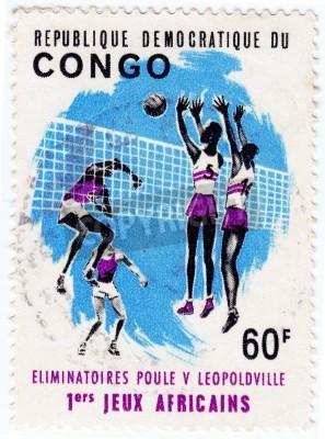 Posters CONGO - CIRCA 1975: Stamp imprimé au Congo montre sportifs valleyball, circa 1975