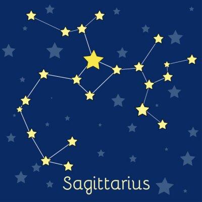 Posters Constellation du Zodiaque du Feu Sagittaire avec des étoiles dans le cosmos. Image vectorielle
