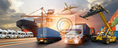 Posters Container truck in ship port for business Logistics and transportation of Container Cargo ship and Cargo plane with working crane bridge in shipyard at sunrise, logistic import export and transport