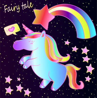 Posters Conte de fées - mignon licorne néon et arc-en-ciel avec des coeurs et des étoiles sur un fond dégradé sombre