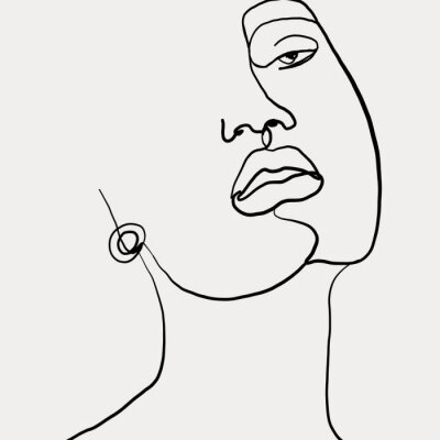 Posters Continuous line, drawing of beauty woman face with earring , fashion concept, woman beauty minimalist, vector illustration for t-shirt slogan design print graphics style. One line fashion illustration