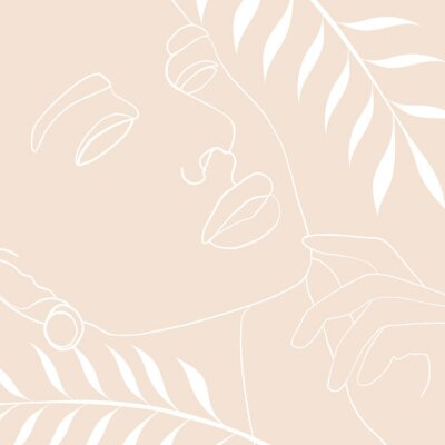 Posters Continuous line, drawing of woman face, fashion concept, woman beauty minimalist with geometric doodle Abstract floral elements pastel colors. One line continuous drawing. vector illustration
