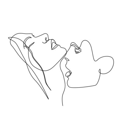 Posters Continuous one line beautiful woman and man kisses passionately