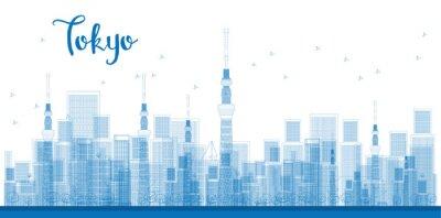 Posters Contour, ville, ville, gratte-ciel, bleu, couleur