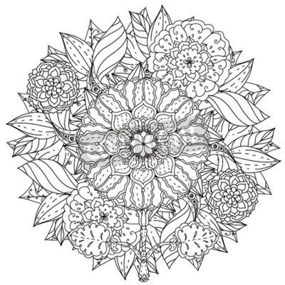 Coloriage Fleur Zen.Contourne Mandala Forme Fleurs Adulte Coloriage Livre
