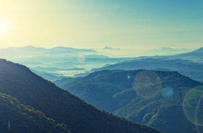 Posters Contre-traité, vue, sunrise, sur, montagne, gamme