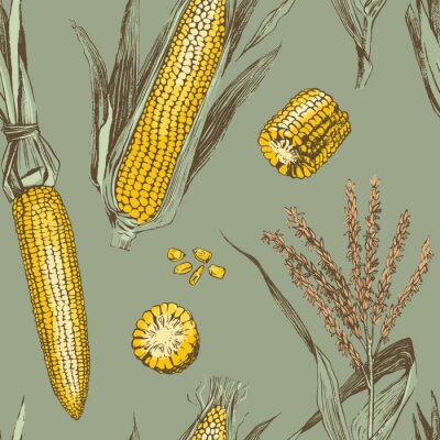 Posters Corn on the cob vintage design seamless pattern