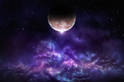 Posters Cosmos, scène, planète, nébuleuse, étoiles, espace