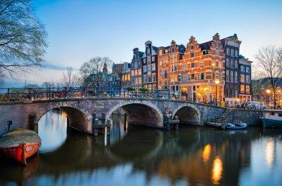 Posters Coucher de soleil à Amsterdam, Pays-Bas