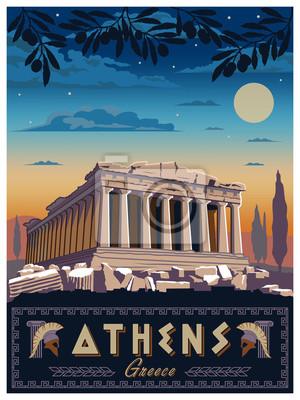 Coucher de soleil à Athènes, en Grèce. Illustration vectorielle dessin dessinée à la main. Style vintage