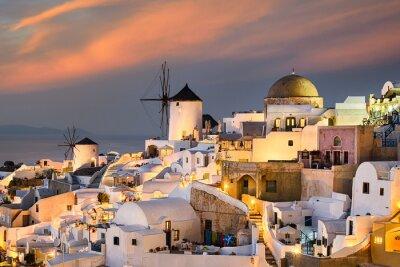 Posters Coucher de soleil à Oia, Santorin, Grèce