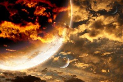 Posters Coucher soleil, orage, ciel, étranger, planète