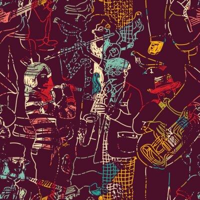 Posters Couleur de la musique jazz seamless pattern.