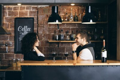 Posters Couple, bar, deux, lunettes, vin