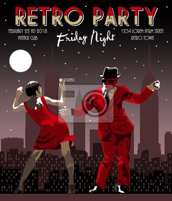 Couple de danse sur le fond de la ville de nuit. Illustration vectorielle dessin dessinée à la main. Style vintage.