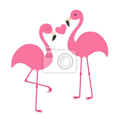 Posters Couple De Flamant Rose Tenant Le Coeur Aime La Famille Loiseau