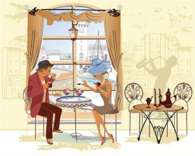 Posters Couple, homme, femme, café