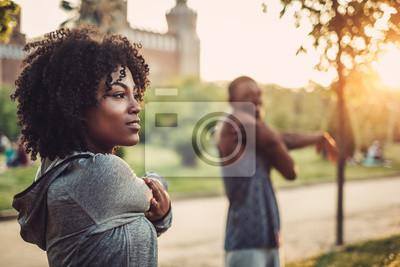 Posters Couple noir, faire, exercice, dehors