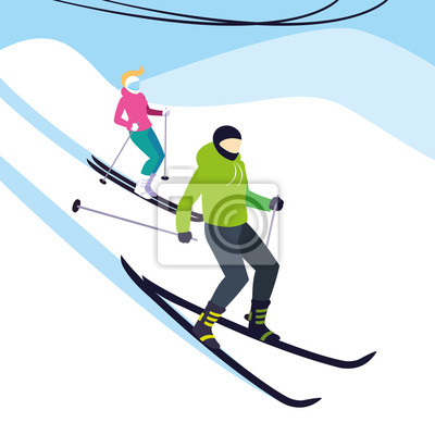 couple practicing ice skiing sport extreme