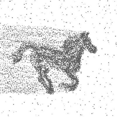 Posters Courir le cheval fait de particules. Fond pointillé. Vecteur