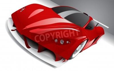 Posters course rapide voiture rouge, en couches, entièrement modifiable