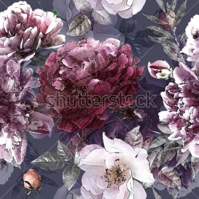 Posters crayon vintage art floral coloré transparente motif avec des roses blanches et des pivoines pourpres sur fond. Double exposition et effet Bokeh