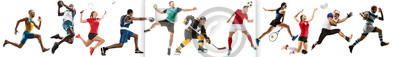 Posters Creative collage of sportive models running and jumping. Advertising, sport, healthy lifestyle, motion, activity, movement concept. American football, soccer, tennis volleyball box badminton rugby