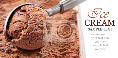 crème glacée au chocolat écopé d'un conteneur