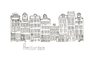 Posters Croquis, Pays-Bas, Amsterdam, maisons, isolé, lettrage