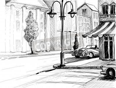Posters Croquis Retro City, rue, bâtiments et voitures anciennes illustration vectorielle, crayon sur papier Style