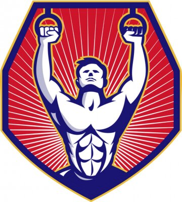 Posters Crossfit Training Athlete Rings Retro