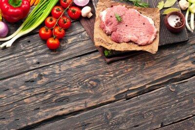 Posters Cru, porc, côtelette, légumes