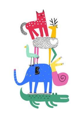 Posters Cute animals. T-shirt graphics for kids vector illustration. Fun cartoon animals pyramid greeting card.
