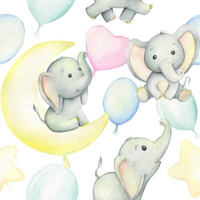 Posters Cute baby elephants surrounded by balloons, watercolor drawing, on white background. Seamless pattern. For children's holiday, digital paper, and invitations.