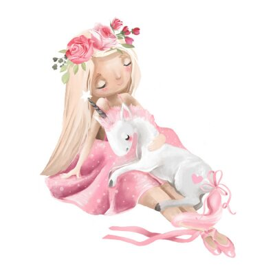 Posters Cute ballerina, ballet girl with flowers, floral wreath and baby unicorn