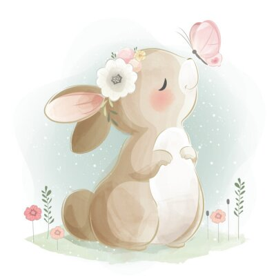 Posters Cute Bunny and the Butterfly
