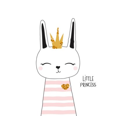 Posters Cute bunny princess with gold crown. Kids trendy graphic. Vector hand drawn illustration.