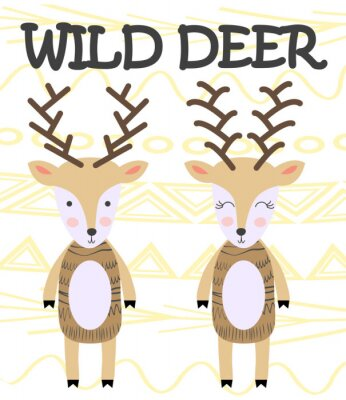 Posters Cute cartoon deer. Composition with folk art animals and floral decor elements. Hand drawn clip art. Scandinavian style