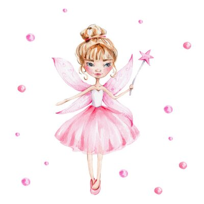 Posters Cute cartoon fairy with magic wand and wings; watercolor hand draw illustration; with white isolated background
