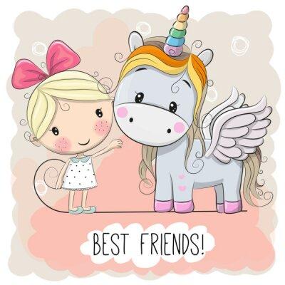 Posters Cute Cartoon fille et licorne