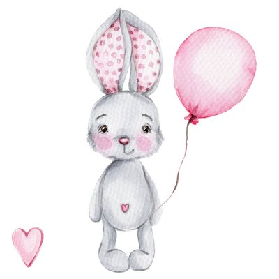 Posters Cute cartoon little bunny with pink balloon; watercolor hand draw illustration; with white isolated background