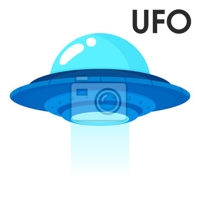 Posters Cute cartoon spacecraft from outer space or alien ufo