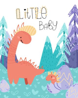 Posters Cute childish hand drawing. Prehistoric period. Vector scandinavian illustration. Sketch of jurassic reptiles. Cartoon dinosaurs, eggs, mountains. Template baby banner, greeting card, invitation