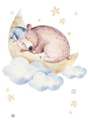 Posters Cute dreaming cartoon animal hand drawn watercolor illustration. Sleeping charecher kids nursery wear fashion design, baby shower invitation card.